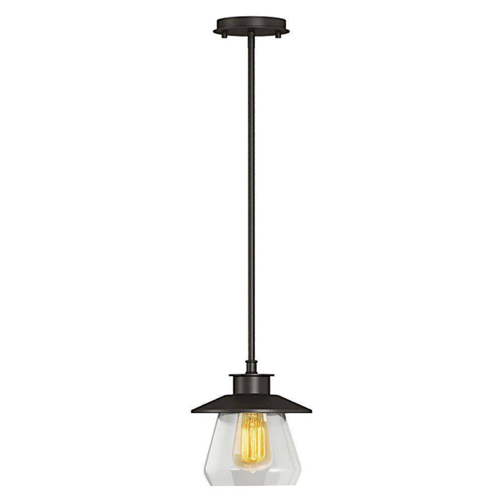 Bronze - Pendant Lights - Hanging Lights - The Home Depot inside Oiled Bronze Pendant Lights (Image 1 of 15)