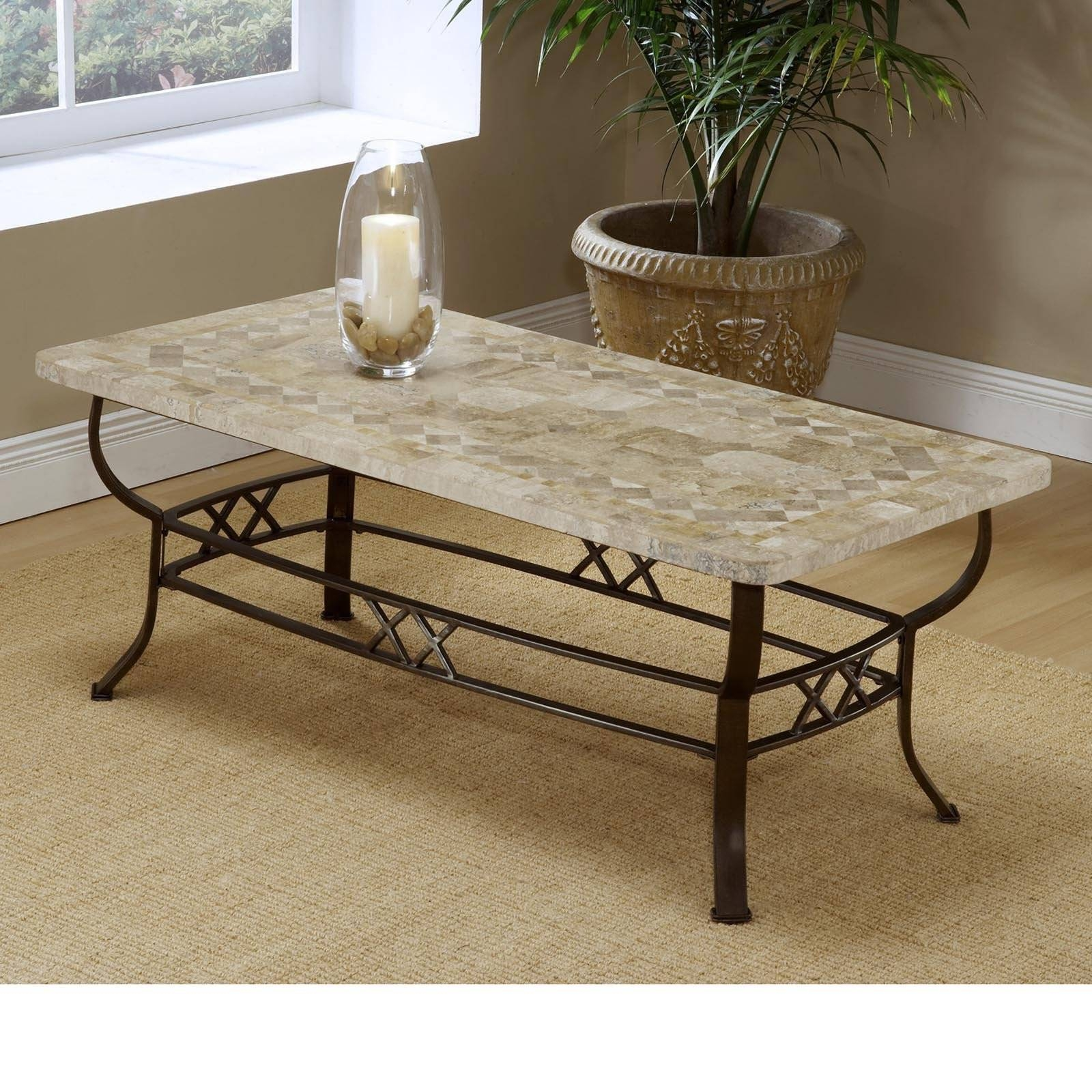 Brookside Fossil Stone Coffee Table | Hayneedle in Glass And Stone Coffee Table (Image 3 of 15)