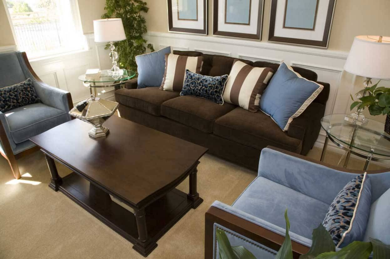Brown And Blue Living Room Decor With Dark Brown Sofa | Home in Brown Sofa Chairs (Image 6 of 15)