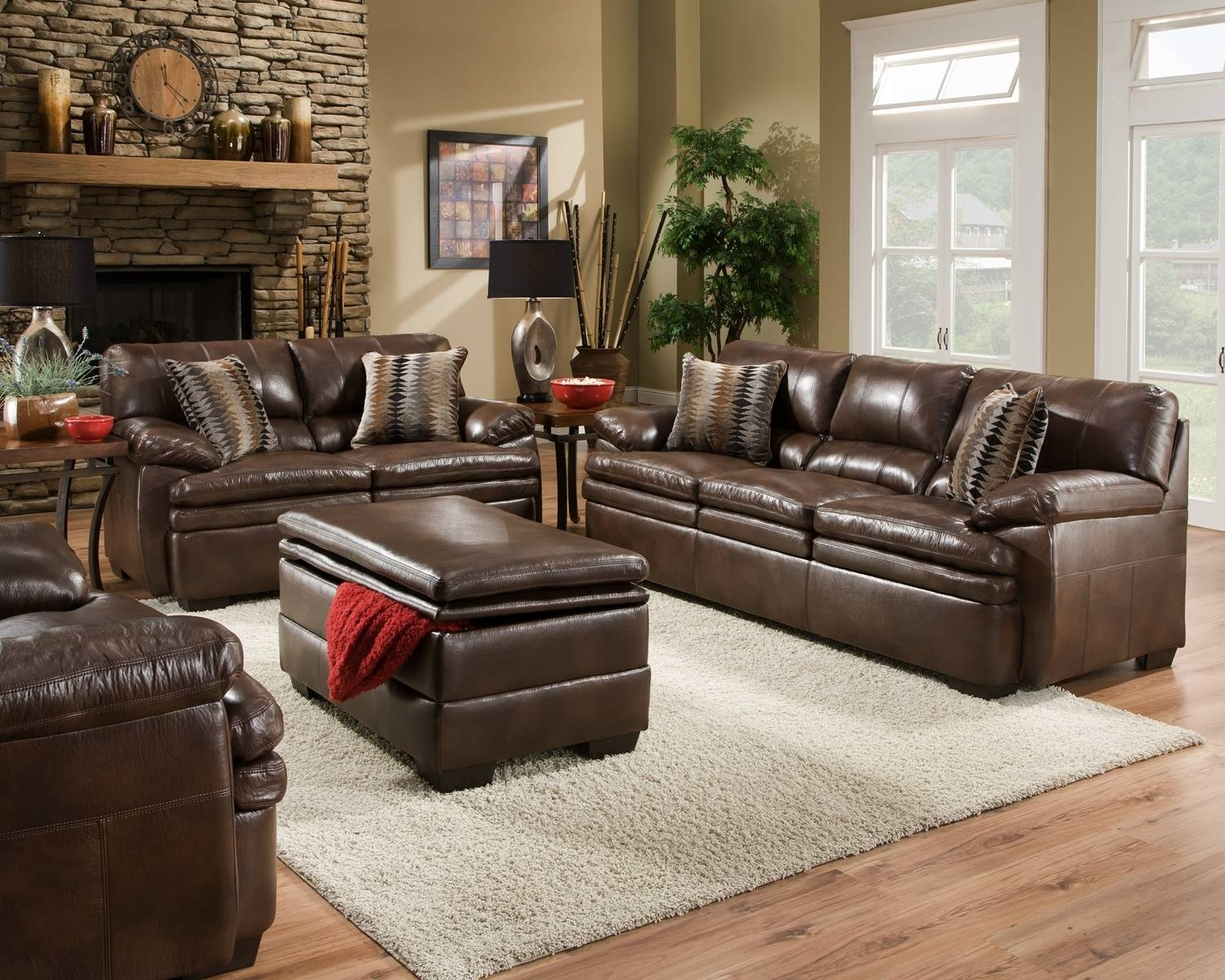 Brown Bonded Leather Sofa Set Casual Living Room Furniture W Within Casual Sofas And Chairs (View 4 of 15)
