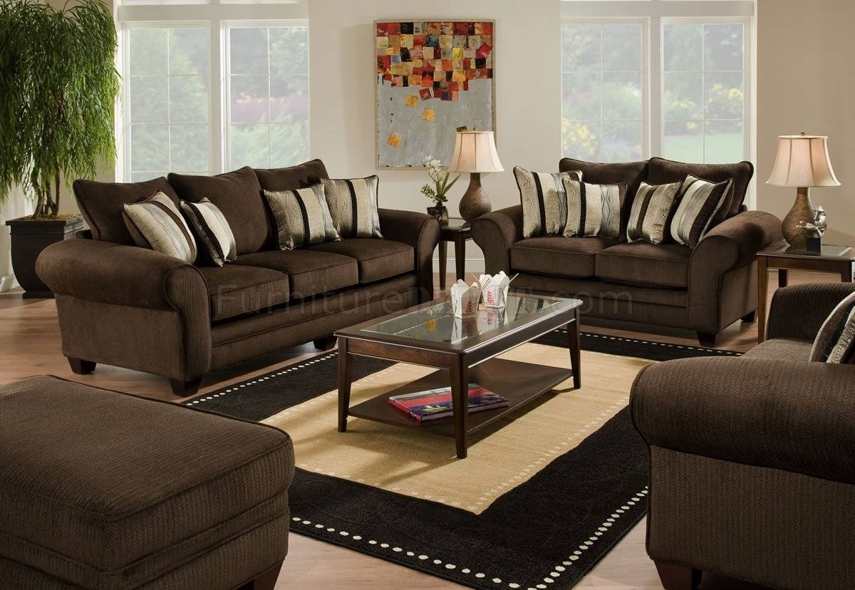 Brown Fabric Casual Sofa & Loveseat Set W/plush Flared Arms Intended For Casual Sofas And Chairs (View 5 of 15)