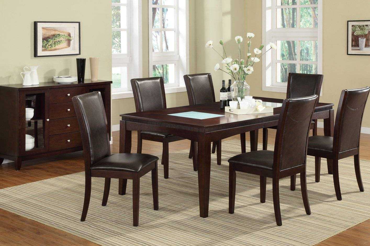 Brown Glass Dining Table - Steal-A-Sofa Furniture Outlet Los throughout Dining Table With Sofa Chairs (Image 3 of 15)