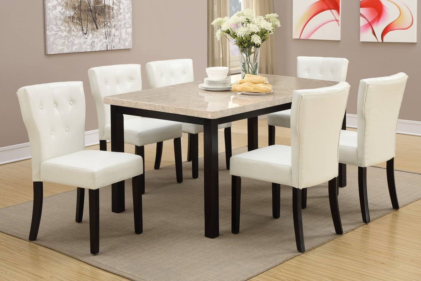 Brown Marble Dining Table - Steal-A-Sofa Furniture Outlet Los intended for Dining Table With Sofa Chairs (Image 5 of 15)