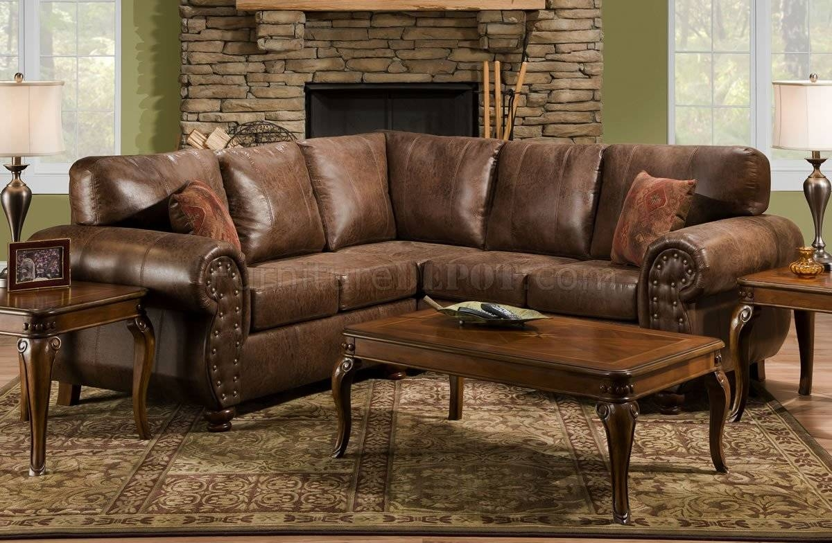 Brown Smokey Leather Like Microfiber Classic Sectional Sofa in Traditional Leather Sectional Sofas (Image 4 of 15)