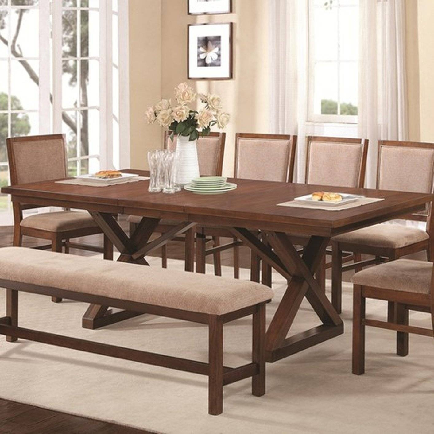 Brown Wood Dining Table - Steal-A-Sofa Furniture Outlet Los Angeles Ca throughout Dining Table With Sofa Chairs (Image 6 of 15)