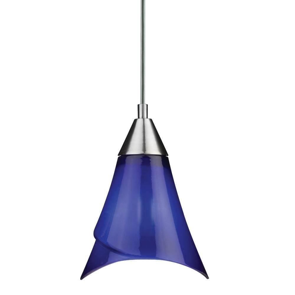 Brushed Nickel Blue Glass Mini Pendant Light – Free Shipping On Intended For Blue Pendant Light Fixtures (View 5 of 15)