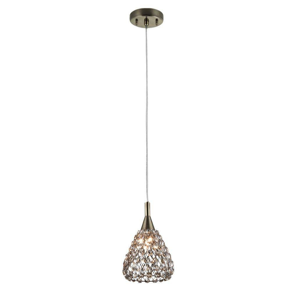 Brushed Nickel - Pendant Lights - Hanging Lights - The Home Depot intended for Miniature Pendant Lights (Image 1 of 15)