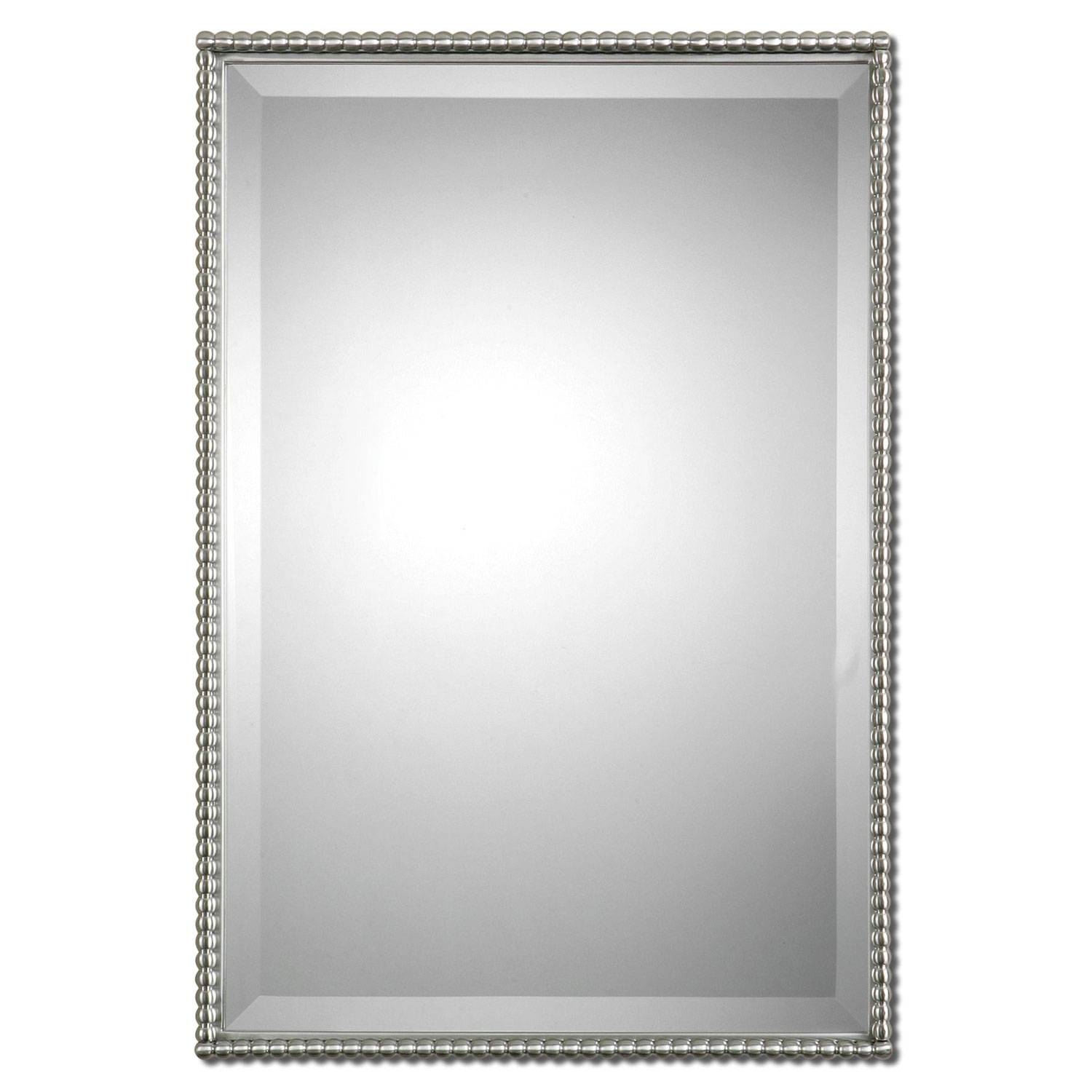 Brushed Nickel Sherise Rectangle Mirror Uttermost Wall Mirror Regarding Chrome Framed Mirrors (View 4 of 15)