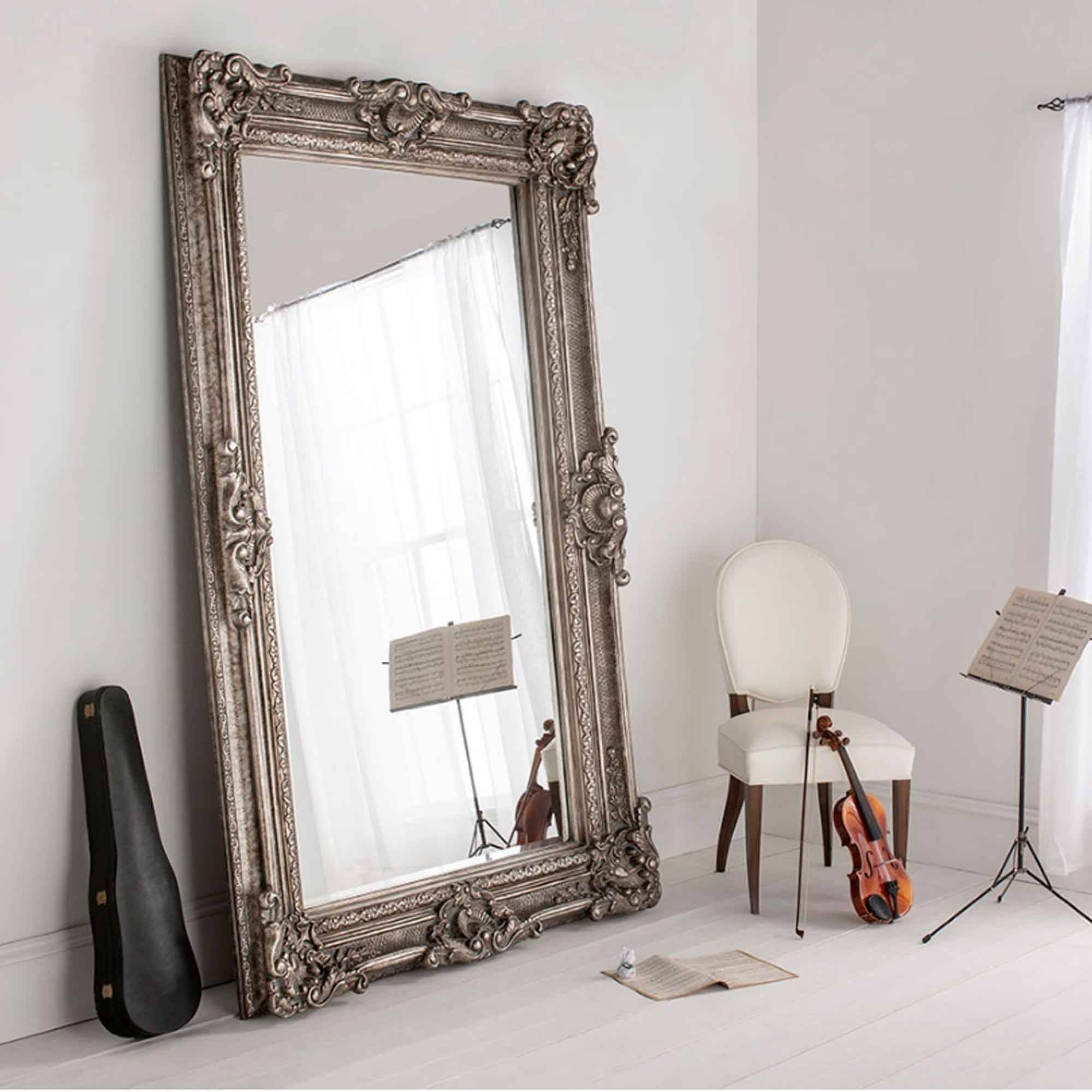 Buckingham Silver Antique French Style Floorstanding Mirror inside Antique French Mirrors (Image 12 of 15)