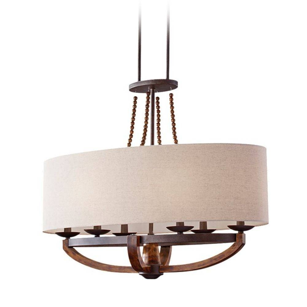 Burnished Wood Pendant Light With Oval Shade And Six Lights for Oval Pendant Lights Fixtures (Image 2 of 15)