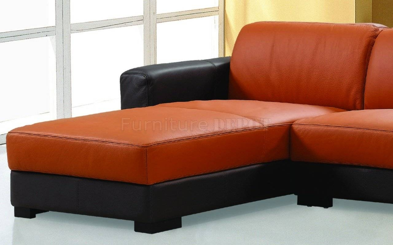 Orange leather sectional more views for Sofa orange