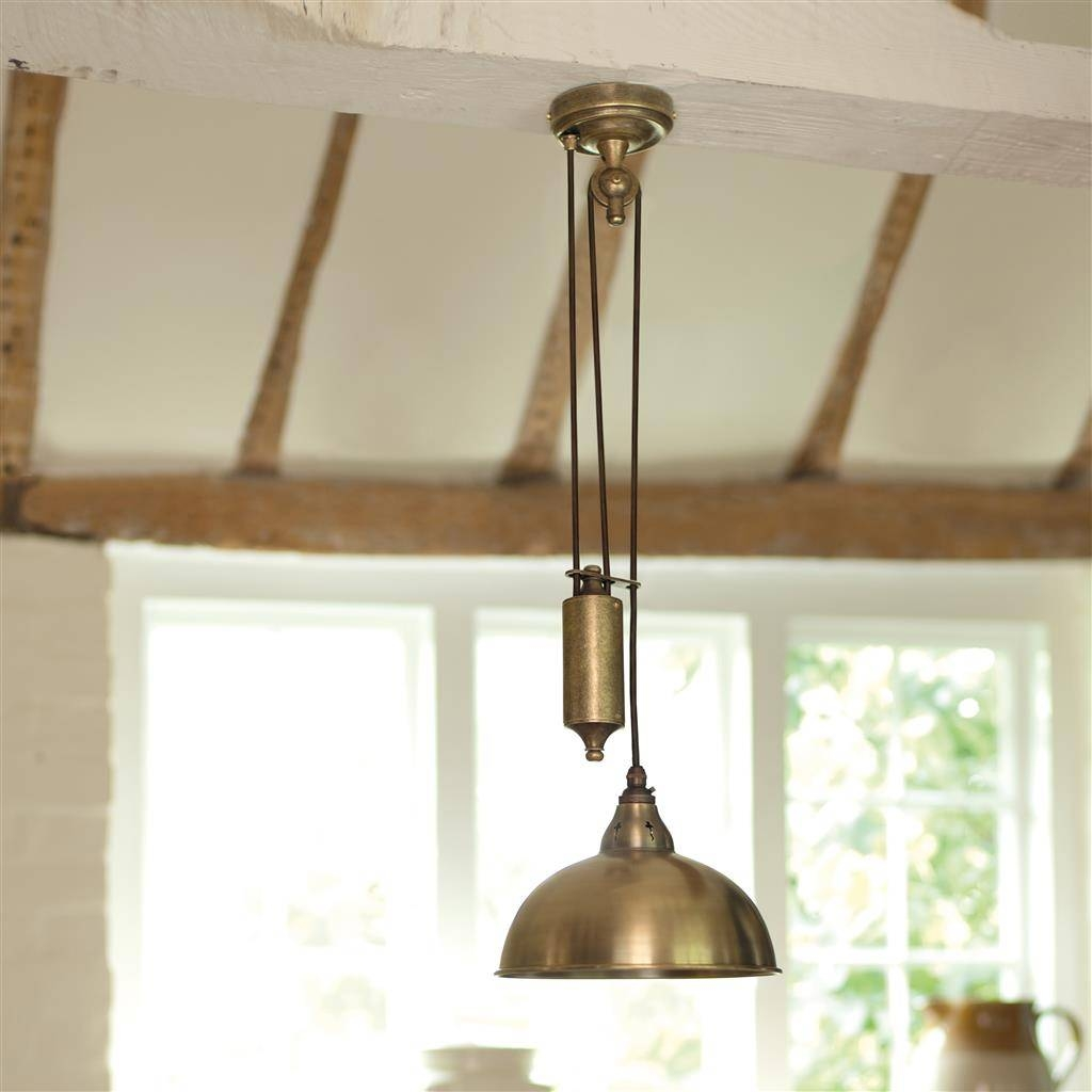 Butler Rise And Fall Kitchen Pendant Light | Antique Brass throughout Rise And Fall Pendant Lighting (Image 4 of 15)