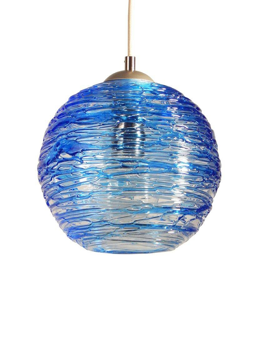 Buy A Hand Made Cerulean Blue Spun Hand Blown Glass Cluster within Hand Blown Glass Pendants (Image 6 of 15)