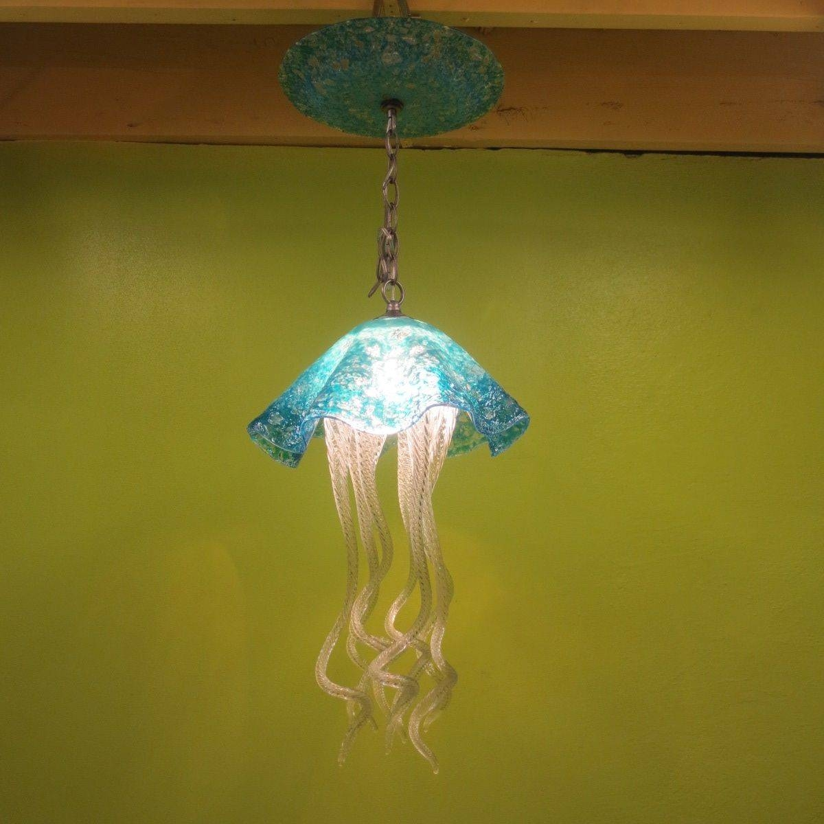 Buy A Hand Made Jellyfish Pendant Light - Turquoise Jellyfish throughout Jellyfish Pendant Lights (Image 4 of 15)