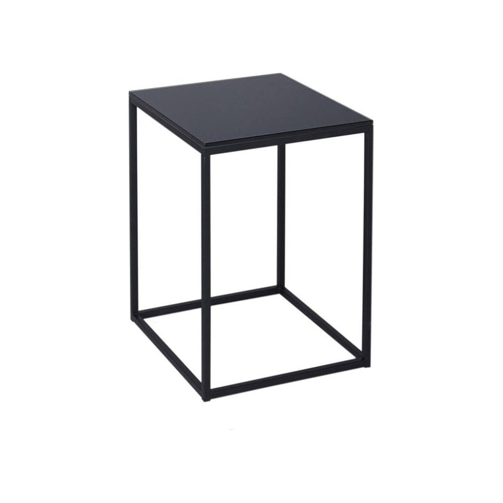 Buy Black Glass And Black Metal Square Side Table From Fusion Living with Glass and Black Metal Coffee Table (Image 4 of 15)