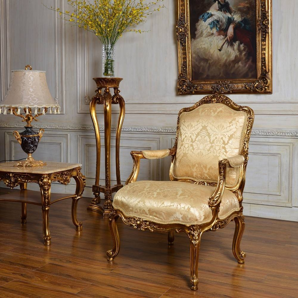 C59 Antique Gold Classic Bedroom And Living Room Single Sofa Chair pertaining to Sofa Chairs For Bedroom (Image 6 of 15)