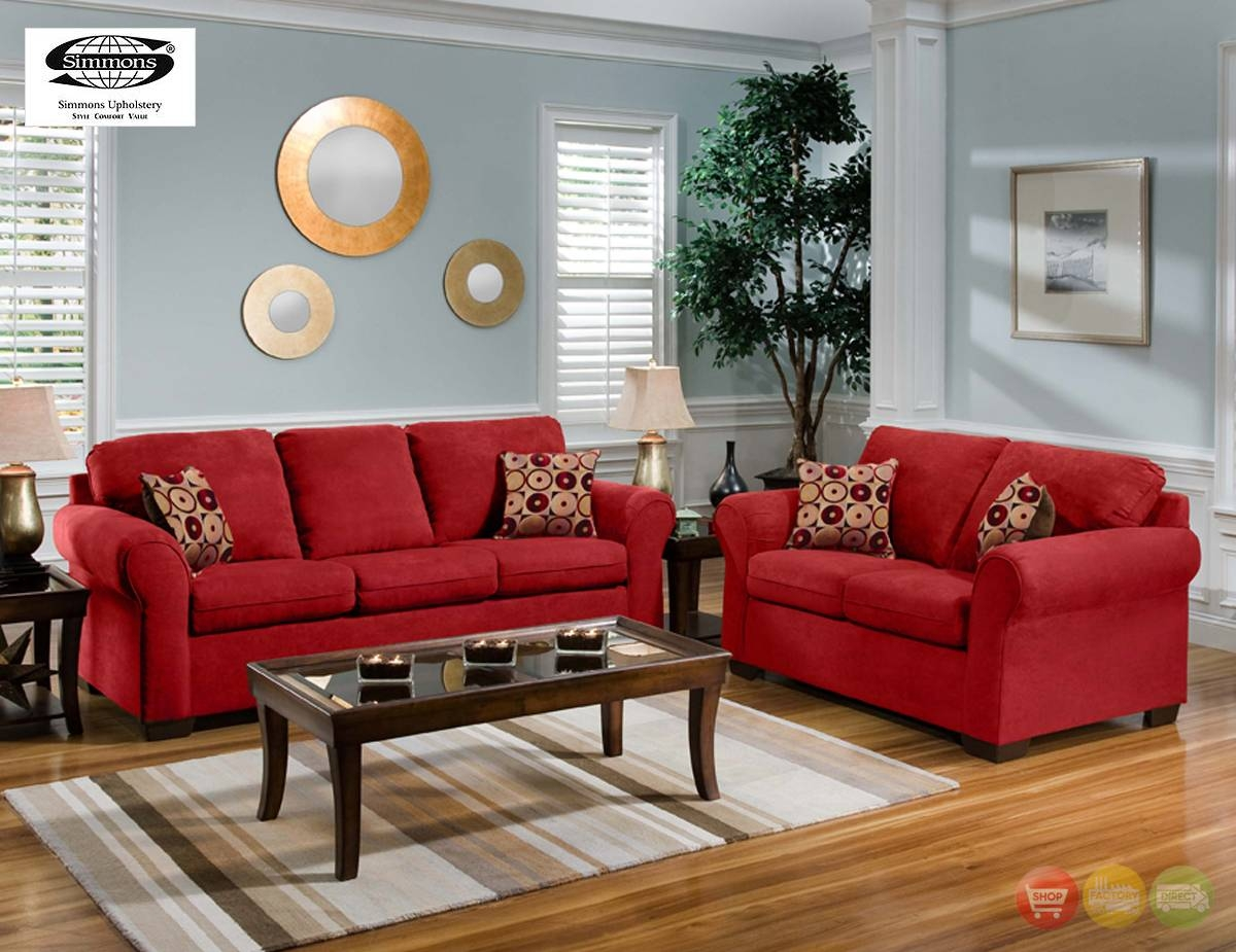 Cabot Red Microfiber Sofa Love Seat Casual Living Room Inside Casual Sofas And Chairs (View 6 of 15)