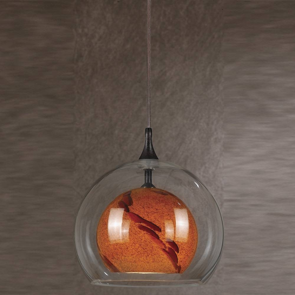 Cal Pnl-1050-6 Contemporary Low Voltage Clear & Amber Spot Glass within Halogen Mini Pendant Lights (Image 4 of 15)