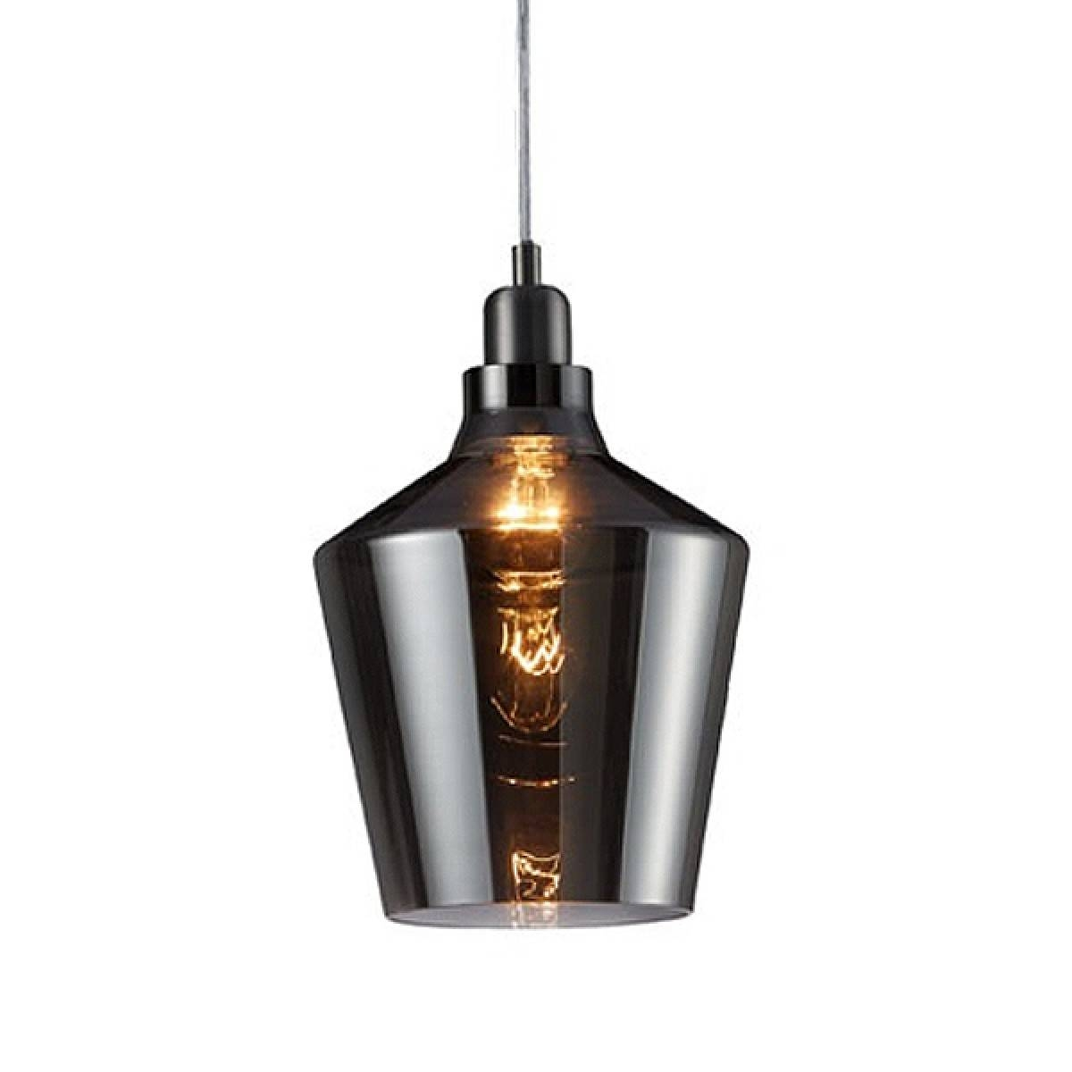 Calais Glass Pendant Light – Designer Smoked Hanging Lamp with Brown Glass Pendant Lights (Image 3 of 15)