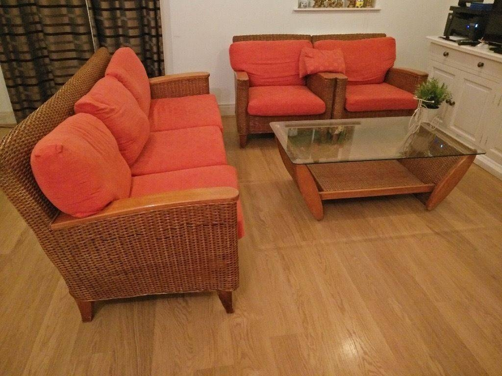 Cane Sofas,one 3 Seater And Two Single Seater,centre Table | In intended for Cane Sofas (Image 6 of 15)