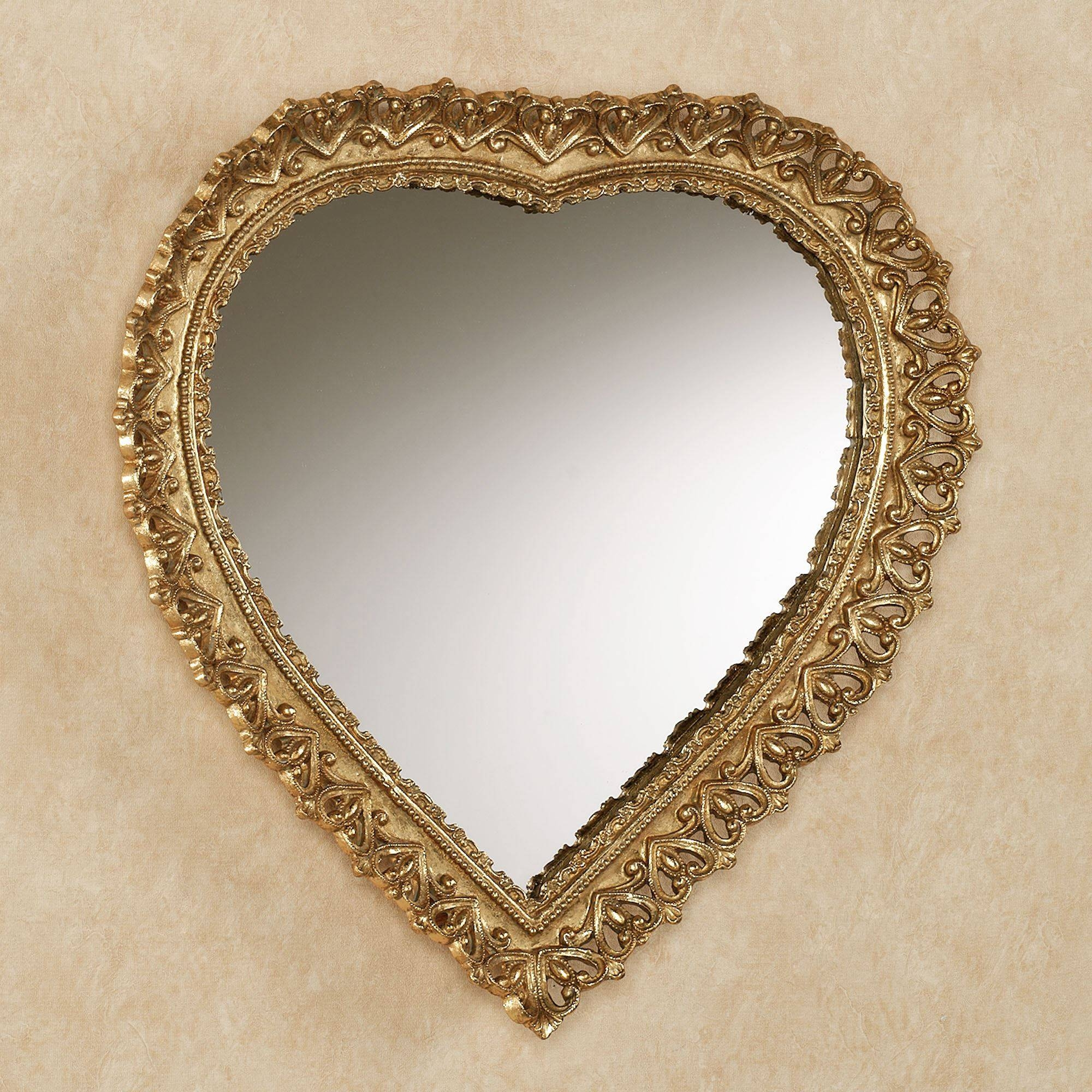 Carenda Gold Heart Shaped Wall Mirror inside Gold Heart Mirrors (Image 5 of 15)