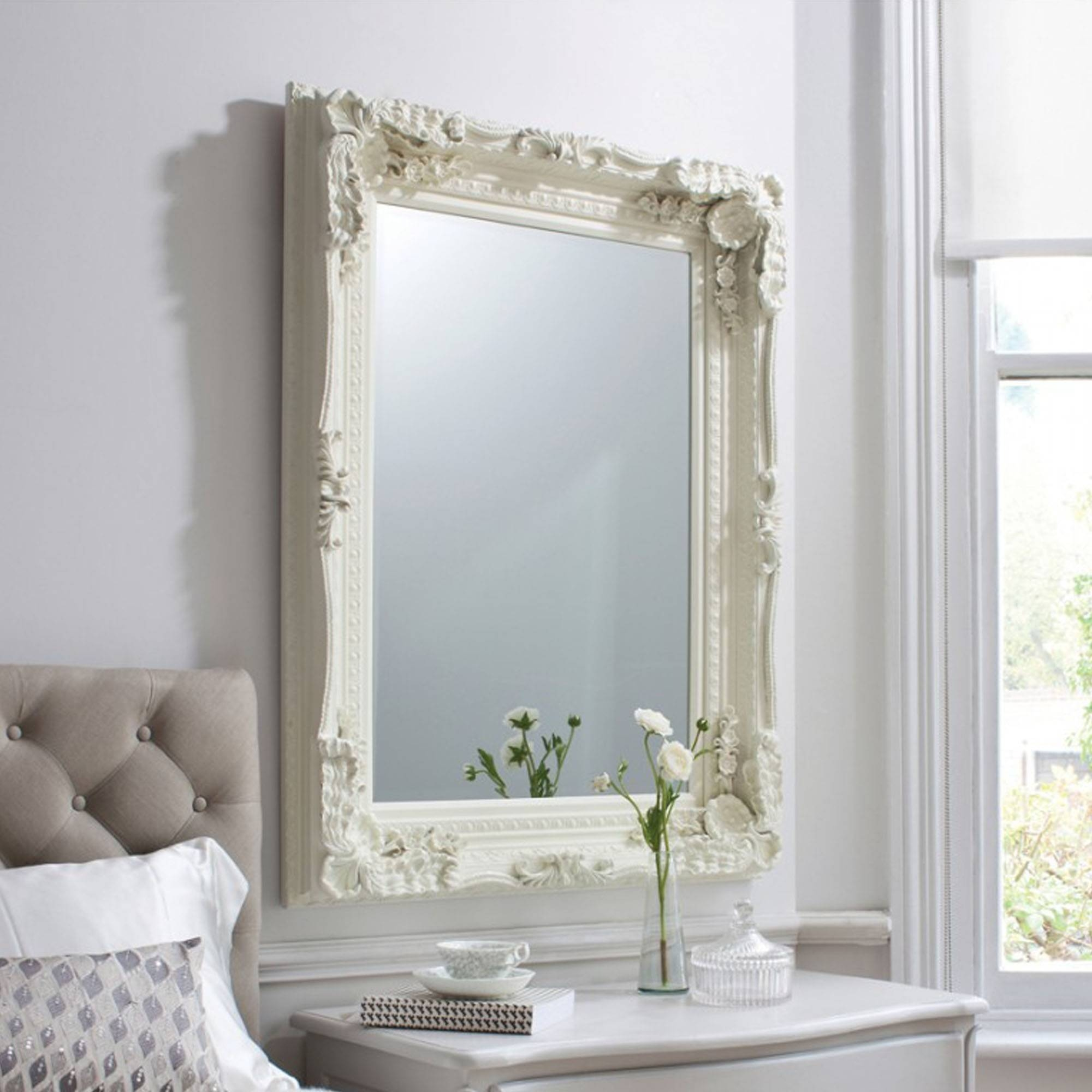 Carved Louis Cream Antique French Style Wall Mirror | Homesdirect365 With French Style Wall Mirrors (View 2 of 15)