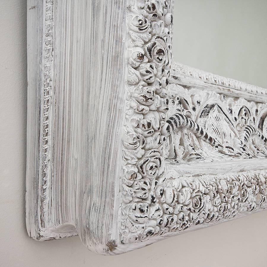 Carved White 'shabby Chic' Mirrordecorative Mirrors Online for White Shabby Chic Mirrors (Image 5 of 15)