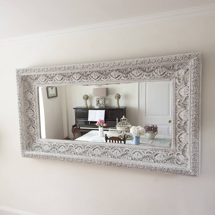 Carved White 'shabby Chic' Mirrordecorative Mirrors Online throughout White Shabby Chic Mirrors (Image 6 of 15)