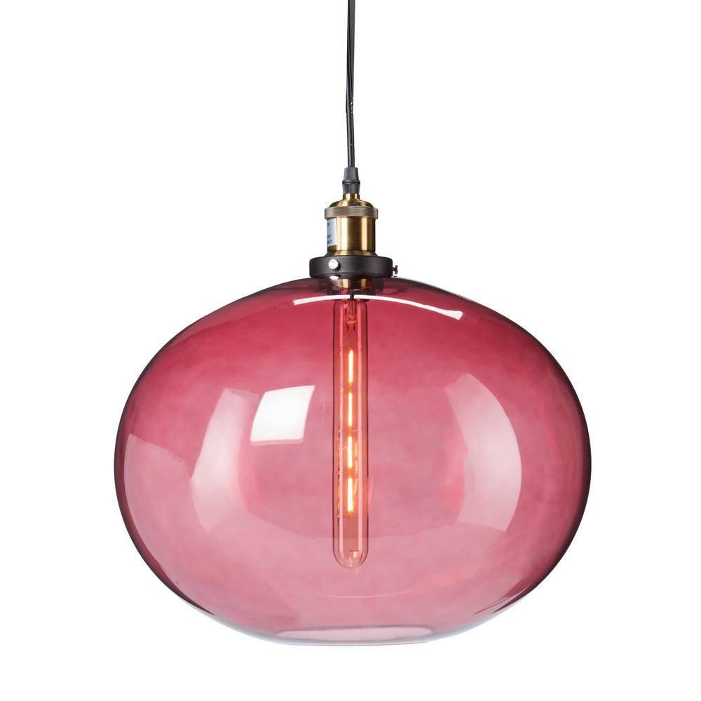 Castor 1-Light Magenta Colored Glass Pendant Lamp-Hd88319 - The for Colored Glass Pendant Lights (Image 2 of 15)