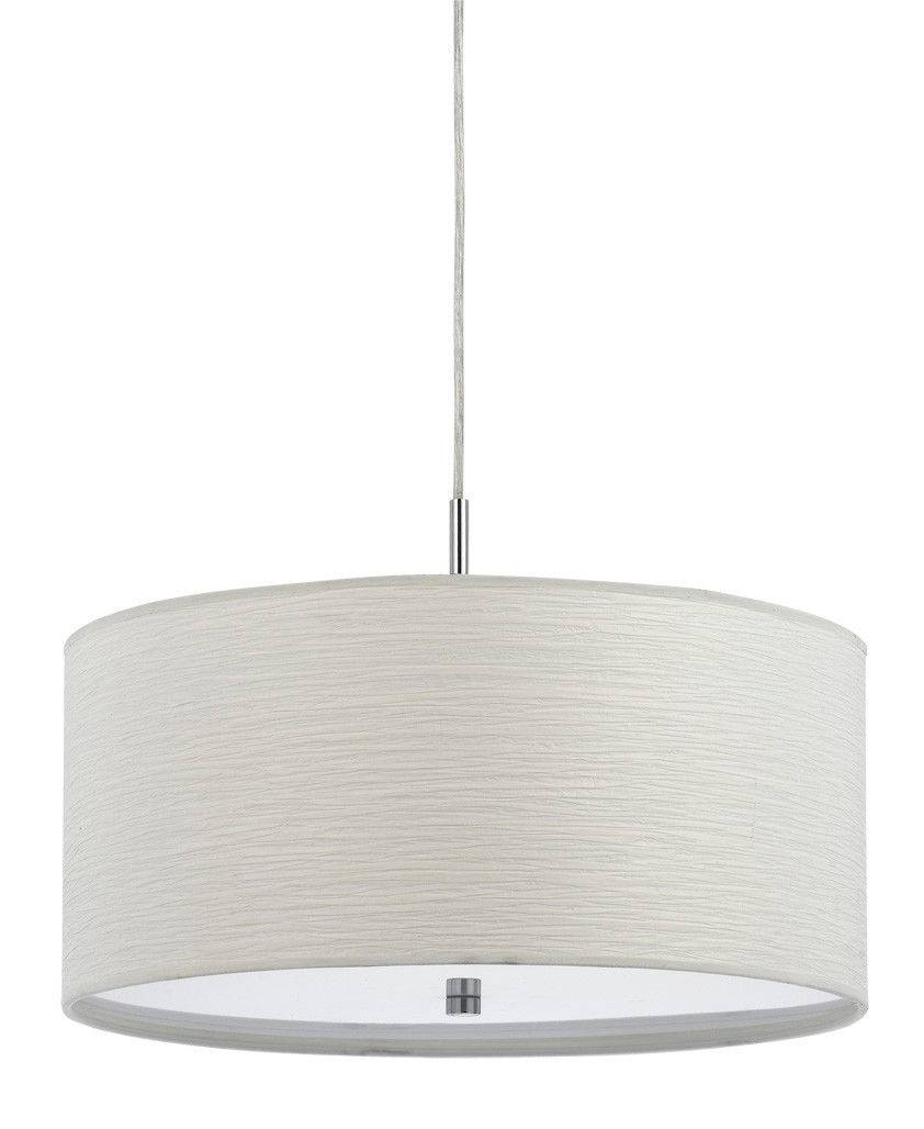 Casual White Drum Pendant Light Plug In | Lamp Shade Pro intended for Drum Pendant Lights (Image 2 of 15)