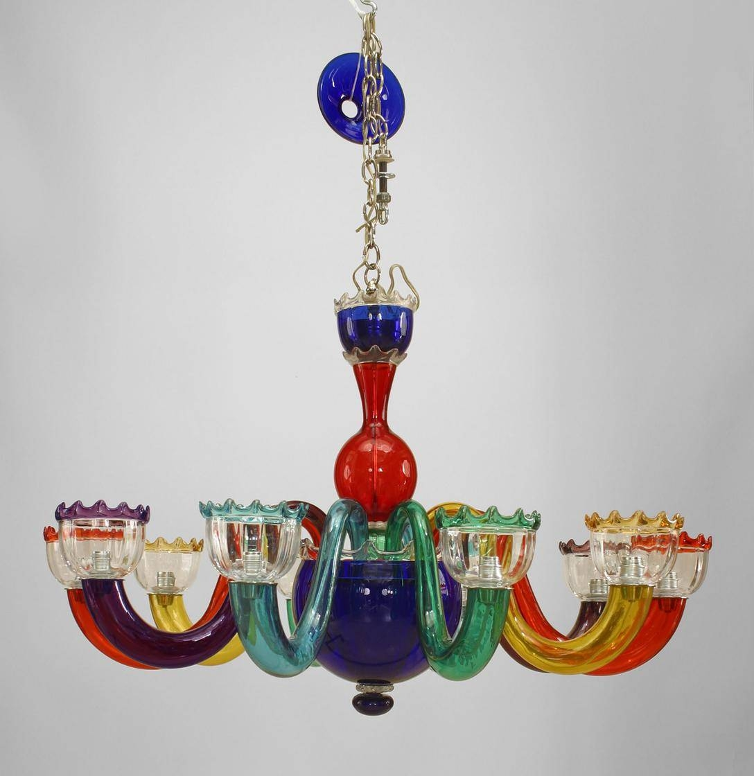 Chandelier. Astonishing Colored Glass Chandelier: Marvelous throughout Coloured Glass Lights Shades (Image 6 of 15)