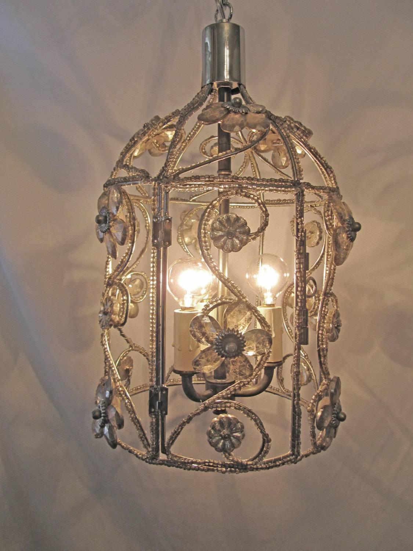 Chandelier Bird Cage Fixture Custom Repurposed 3 Lights Nickel pertaining to Birdcage Lighting Chandeliers (Image 8 of 15)