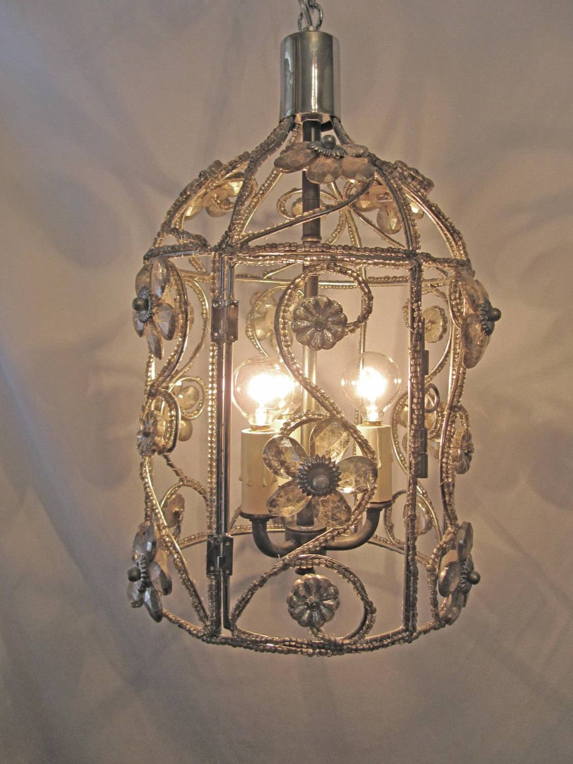 Chandelier Bird Cage Fixture Custom Repurposed 3 Lights Nickel within Birdcage Lights Fixtures (Image 14 of 15)