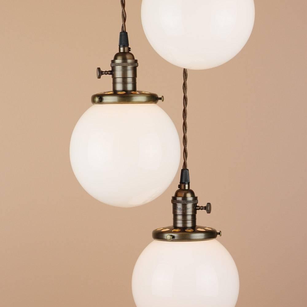 Chandelier Lighting Cascading Pendant Lights 6 White inside Milk Glass Pendant Light Fixtures (Image 3 of 15)