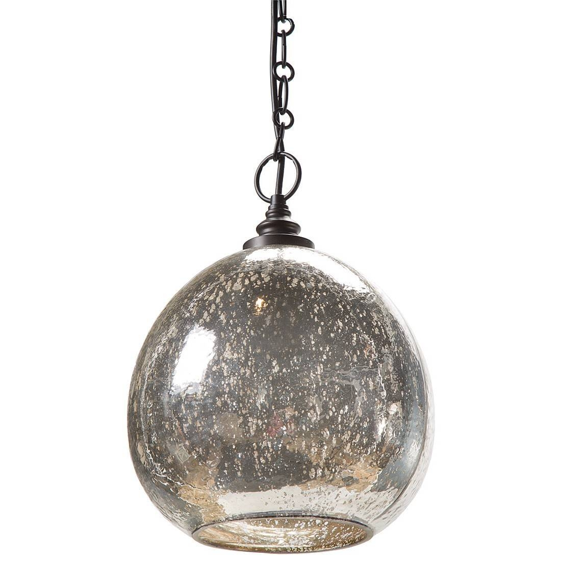 Chandelier: Wondrous Mercury Glass Pendant Lighting | Magnificent regarding Serena Antique Mercury Glass Pendants (Image 6 of 15)