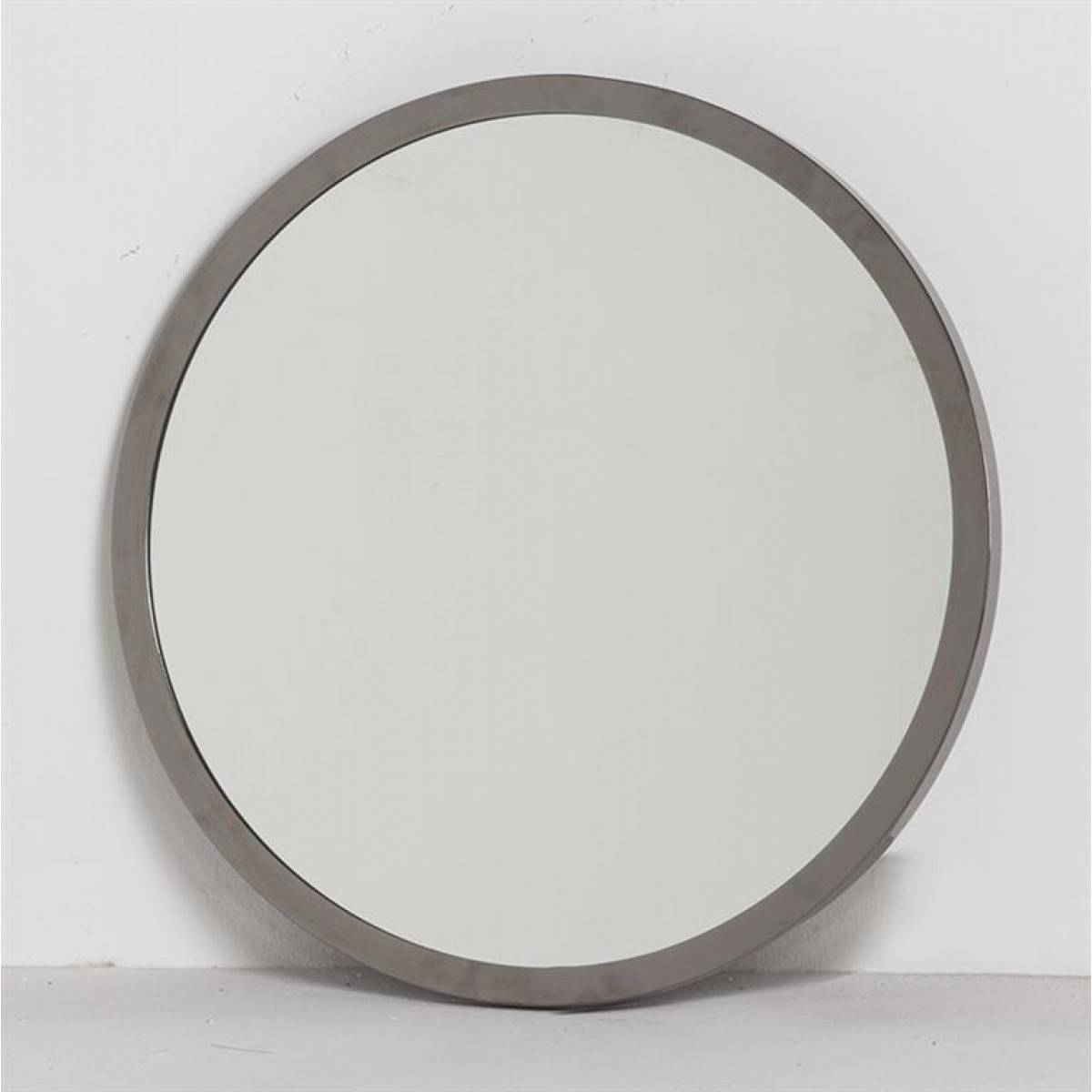 Charles Round Mirror Grey Metal Large - Mirrors - Accessories in Large Black Round Mirrors (Image 5 of 15)