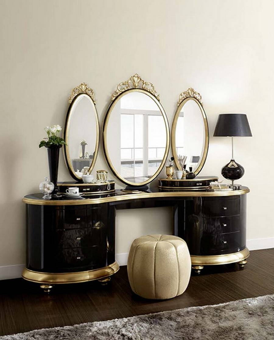 Charming Vanity Table With Mirror — Doherty House Pertaining To Gold Dressing Table Mirrors (View 4 of 15)