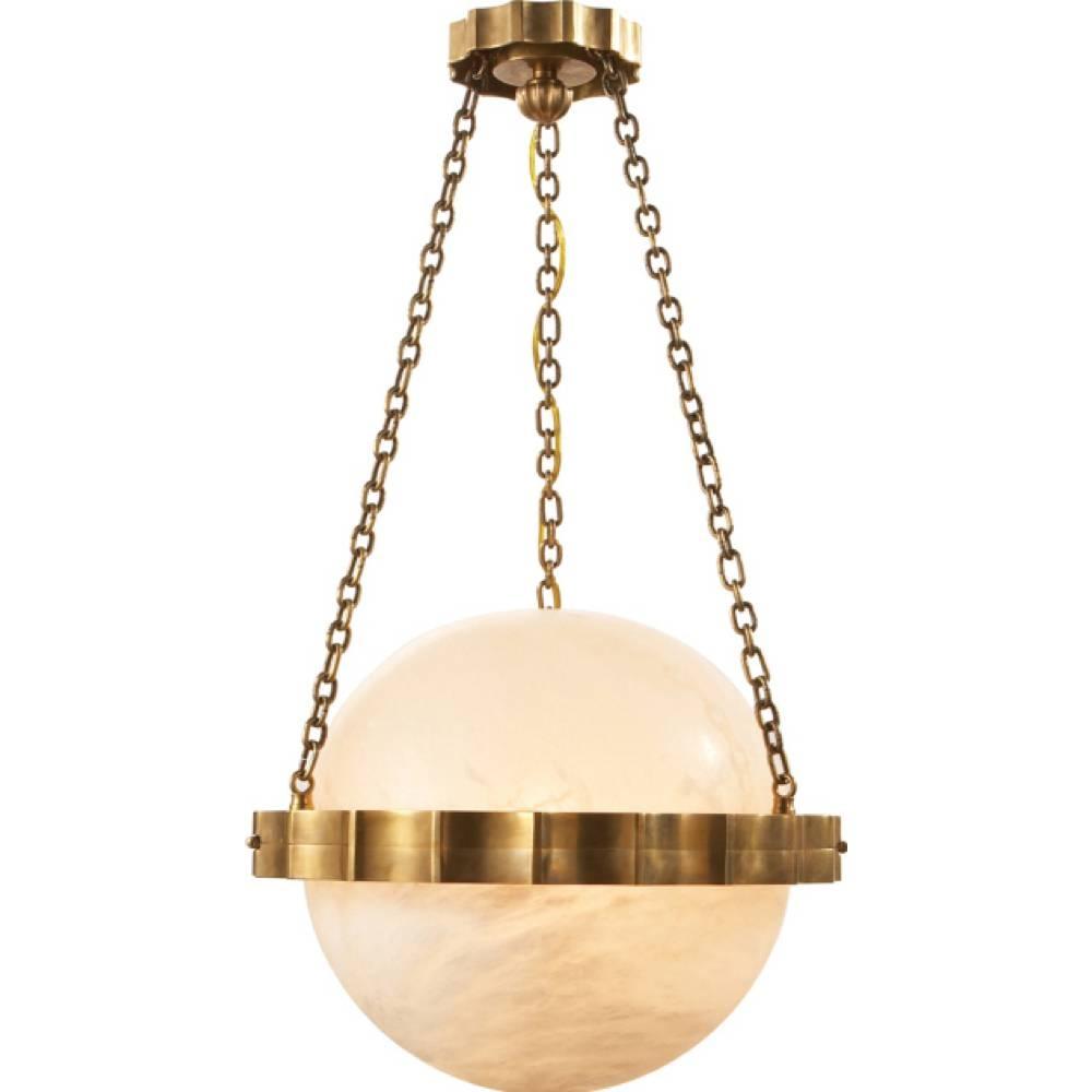 Chart House Medium Fluted Band Globe Pendant In Alabaster intended for Alabaster Pendants (Image 3 of 15)