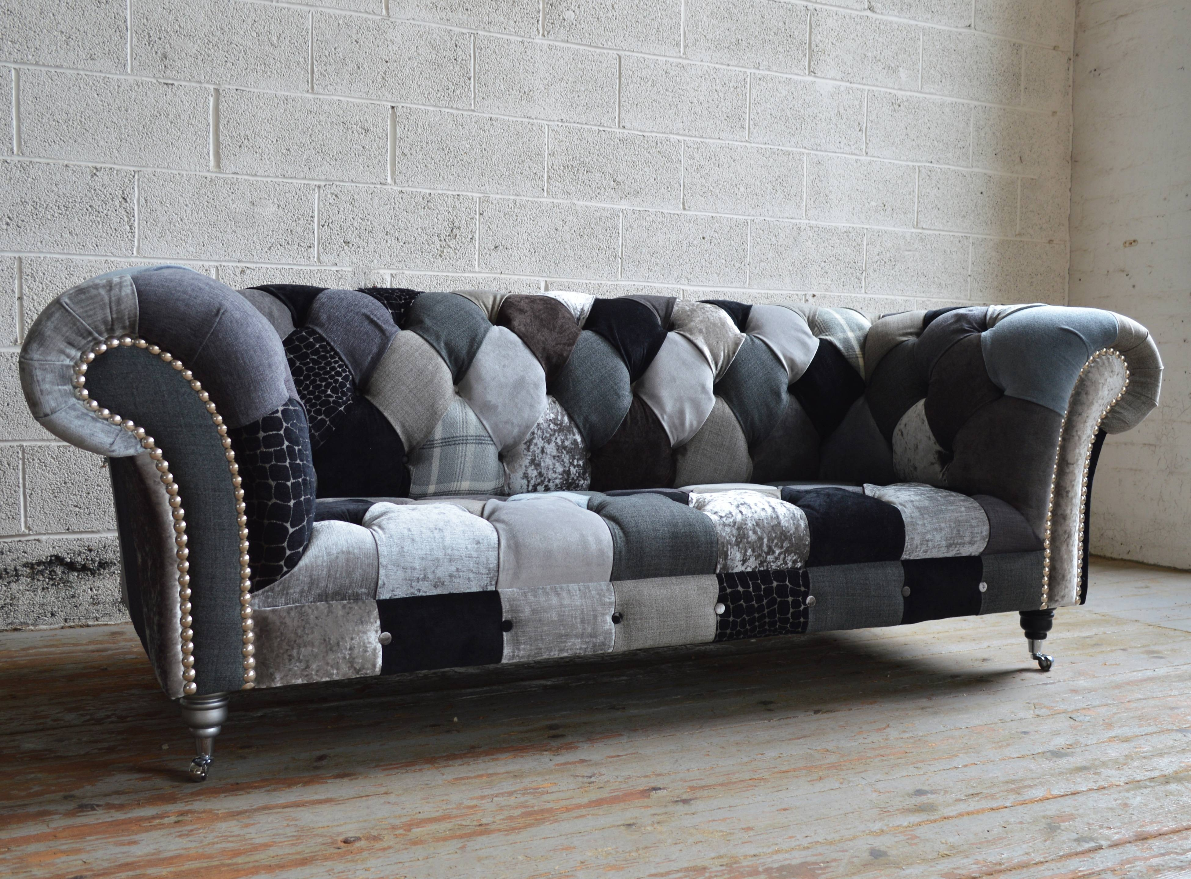 Chester Patchwork Chesterfield Sofa | Abode Sofas within Chesterfield Sofas and Chairs (Image 3 of 15)