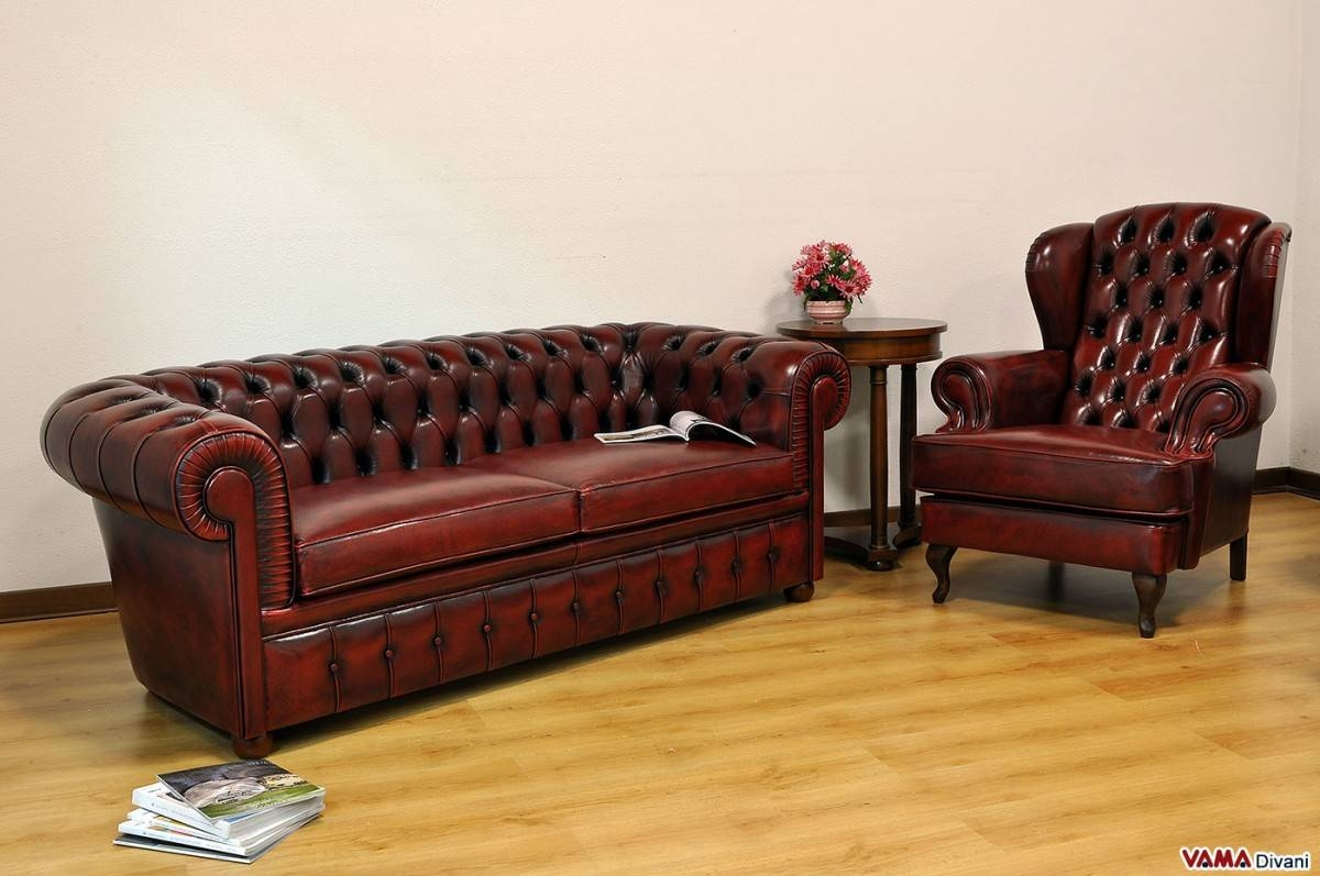 Chesterfield 2 Maxi Seater Sofa | Two Large Cushions in Red Chesterfield Sofas (Image 2 of 15)