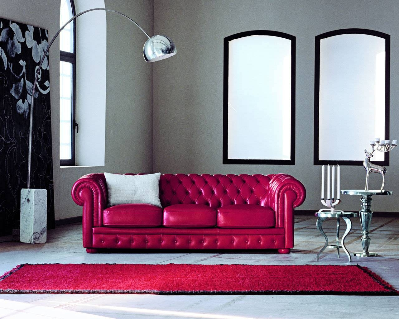 Chesterfield Sofa / Leather / 3-Seater / Red - Alioth - Doimo Sofas pertaining to Red Leather Chesterfield Sofas (Image 4 of 15)
