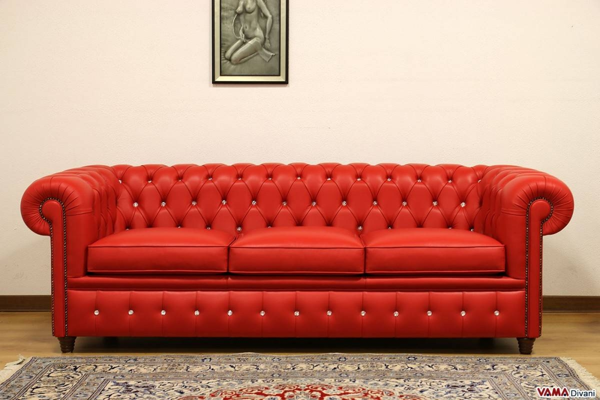 Chesterfield Sofa With Vintage Brass Plated Studs In Red Leather Chesterfield Sofas (View 5 of 15)