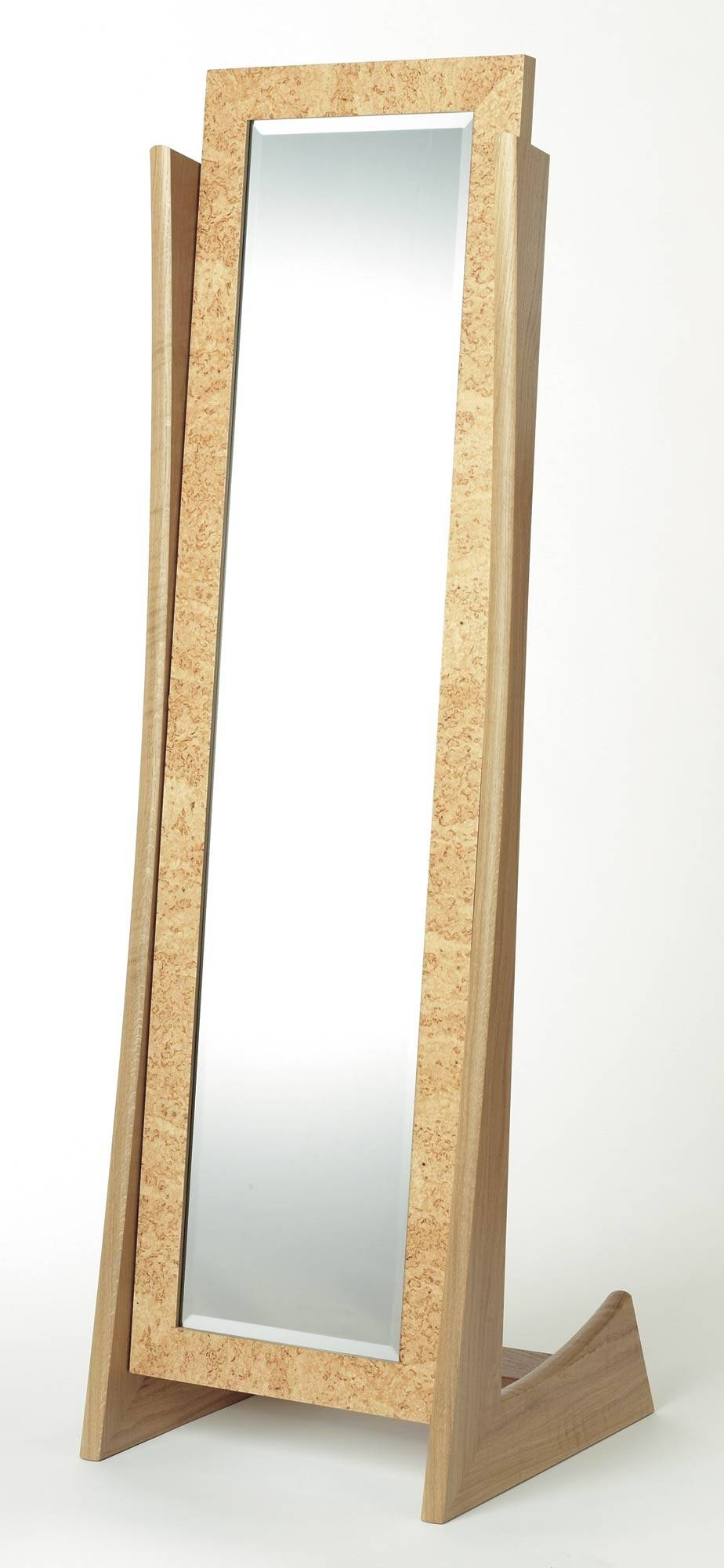 Cheval Mirror In Oak And Masur Birch | Makers' Eye for Cheval Freestanding Mirrors (Image 7 of 15)