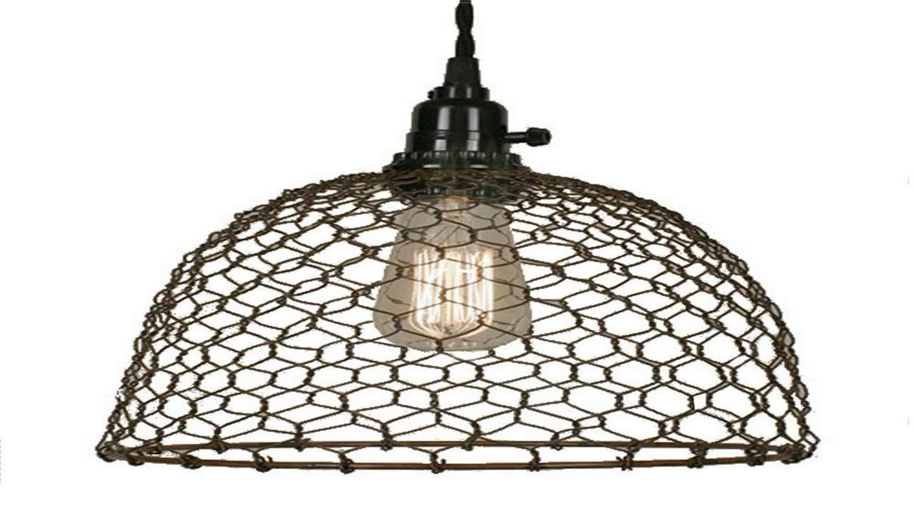 Chicken Wire Dome Pendant Light In Primitive Rust - Youtube in Chicken Wire Pendant Lights (Image 7 of 15)