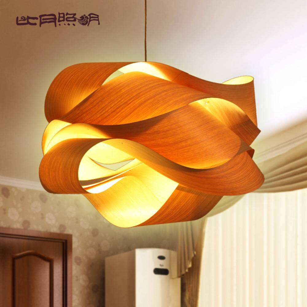 Chinese Style Wood Project Light Veneer Lamps Personalized Pendant intended for Wood Veneer Pendant Lights (Image 4 of 15)