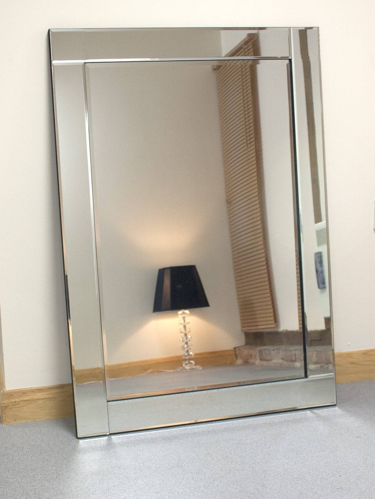 Chloe Large Silver Glass Framed Rectangle Bevelled Wall Mirror 48 Intended For Bevelled Glass Mirrors (View 8 of 15)