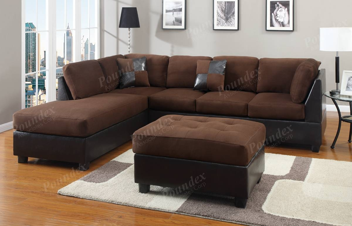 Chocolate Sectional Couch 3-Pc Set Microfiber Sofa Sectionals | Ebay inside Chocolate Brown Microfiber Sectional Sofas (Image 4 of 15)