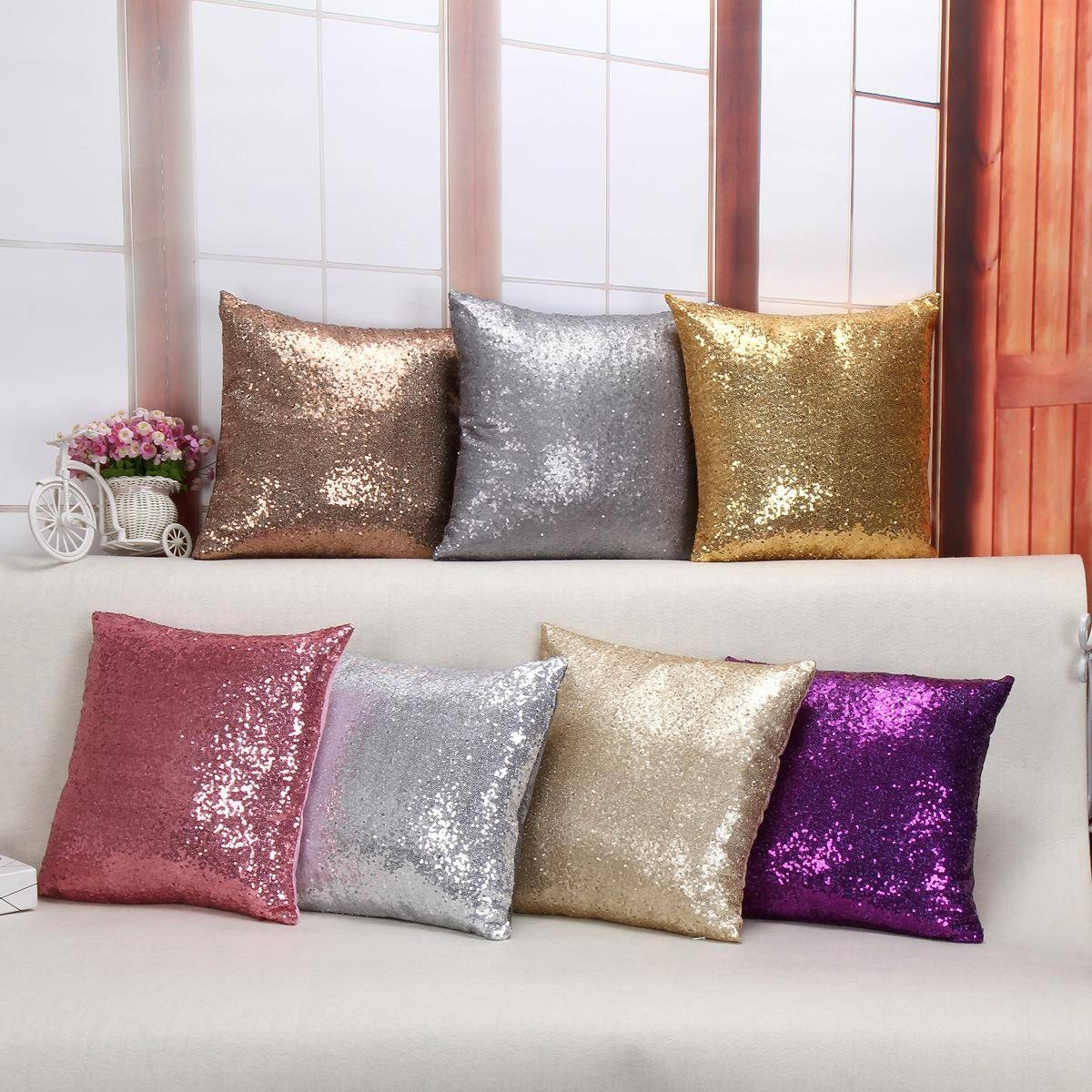 Christmas Home Decor Fashion Luxury 40*40Cm Sequin Cushion Cover within Sofa Cushion Covers (Image 2 of 15)