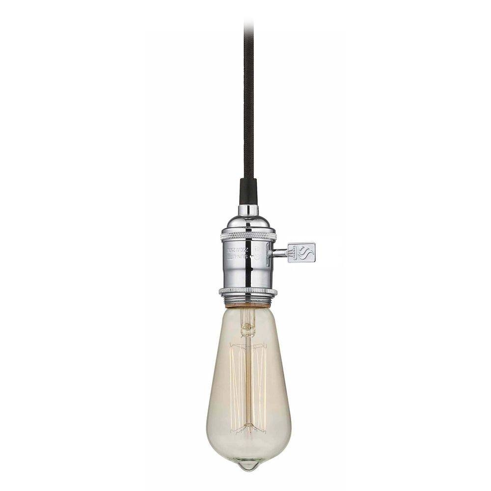 Chrome Bare Bulb Pendant Light With Squirrel Edison Bulb - 60 with Exposed Bulb Pendant Track Lighting (Image 9 of 15)