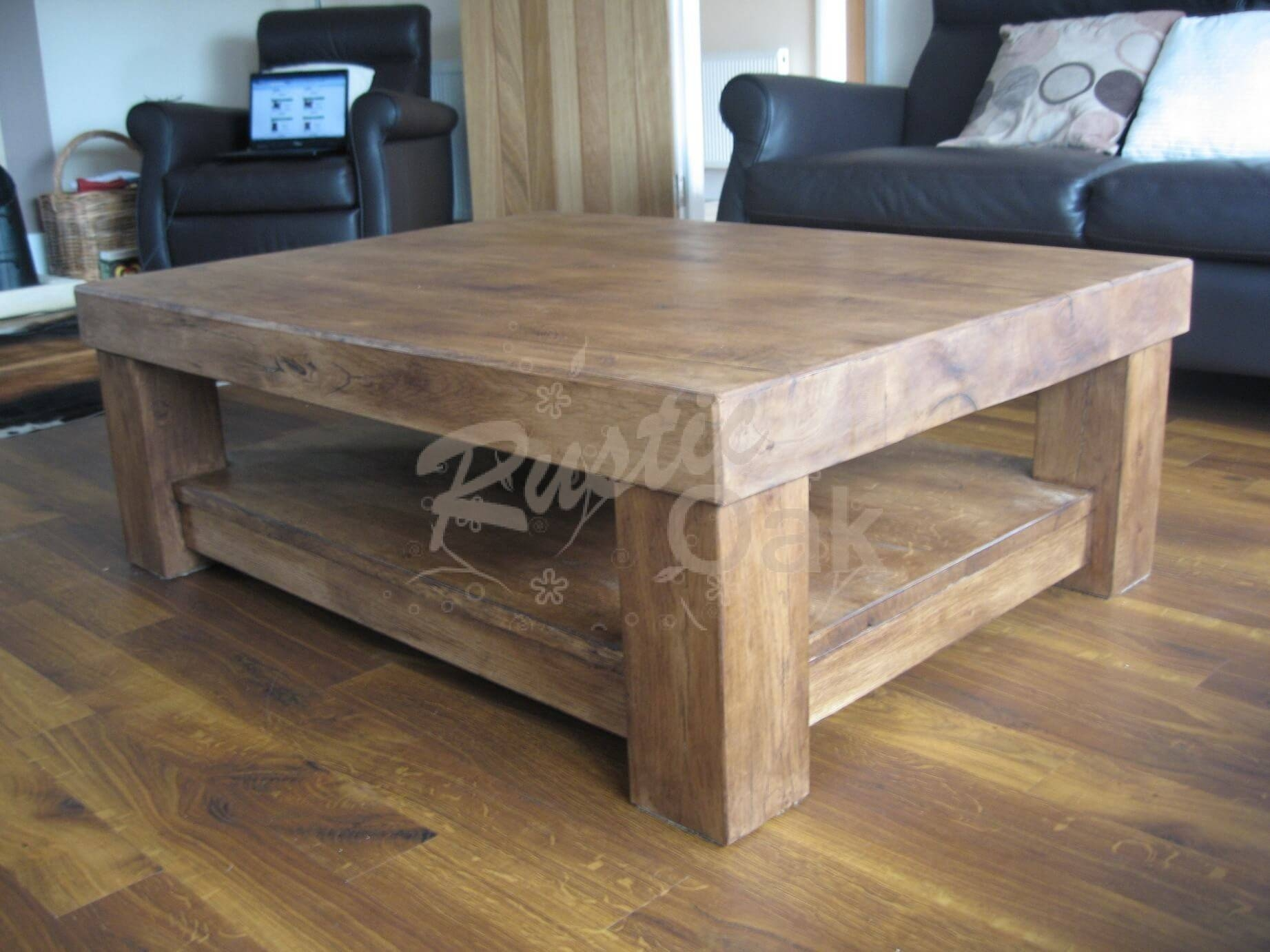 Chunky 4-Leg Coffee Table With Shelf - Rustic Oak pertaining to Oak Coffee Table With Shelf (Image 3 of 15)